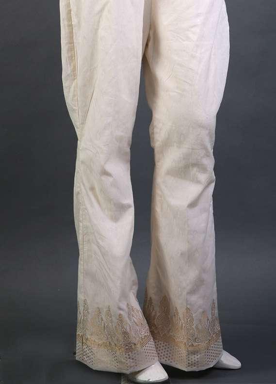 Kross Kulture Self Printed Cotton Stitched Trousers KK 155B Cream