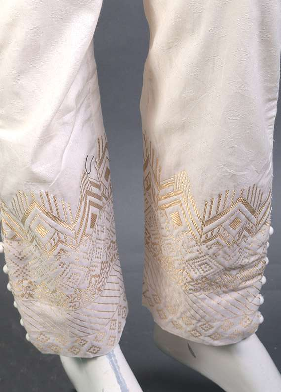Kross Kulture Self Printed Cotton Stitched Trousers KK 156B White