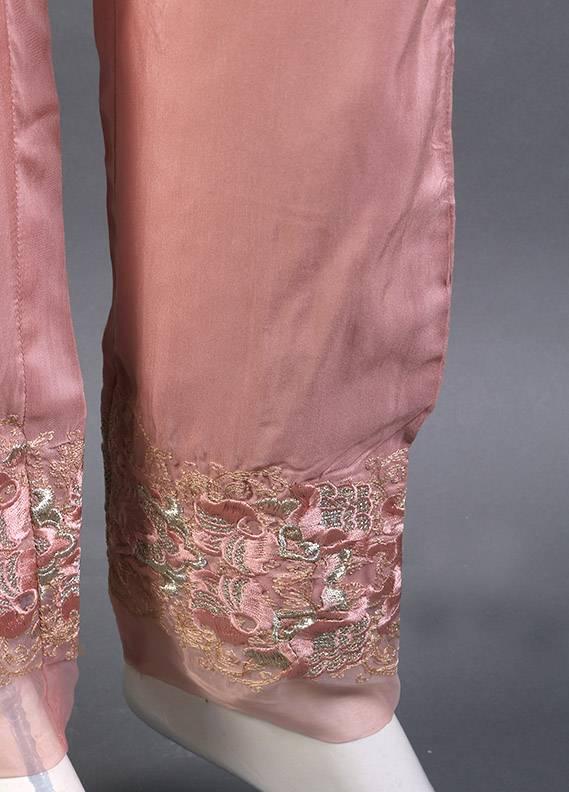 Kross Kulture Embroidered Raw Silk Stitched Trousers KK 244B Dul Pink