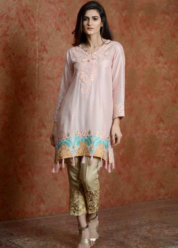 Kross Kulture Embroidered Cotton Net Stitched Kurtis KK 505 Pink