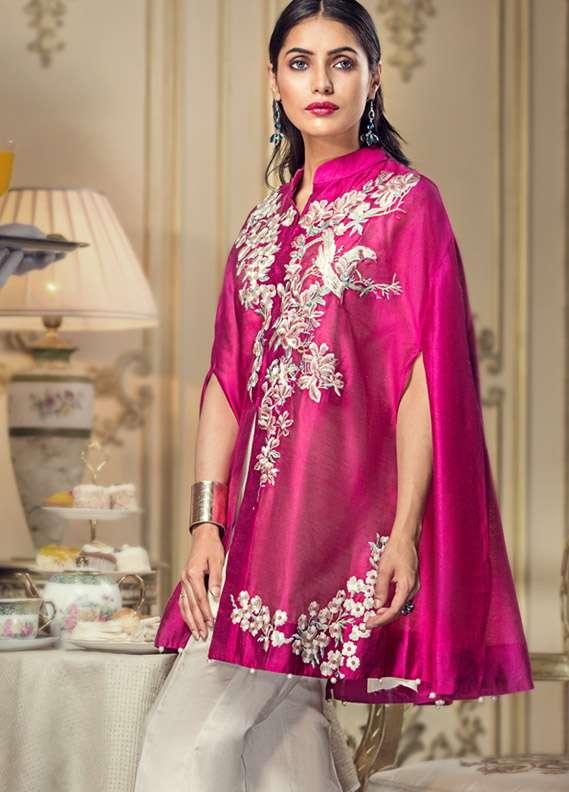 Kross Kulture Embroidered Cotton Net Stitched Kurtis KK 593 Pink