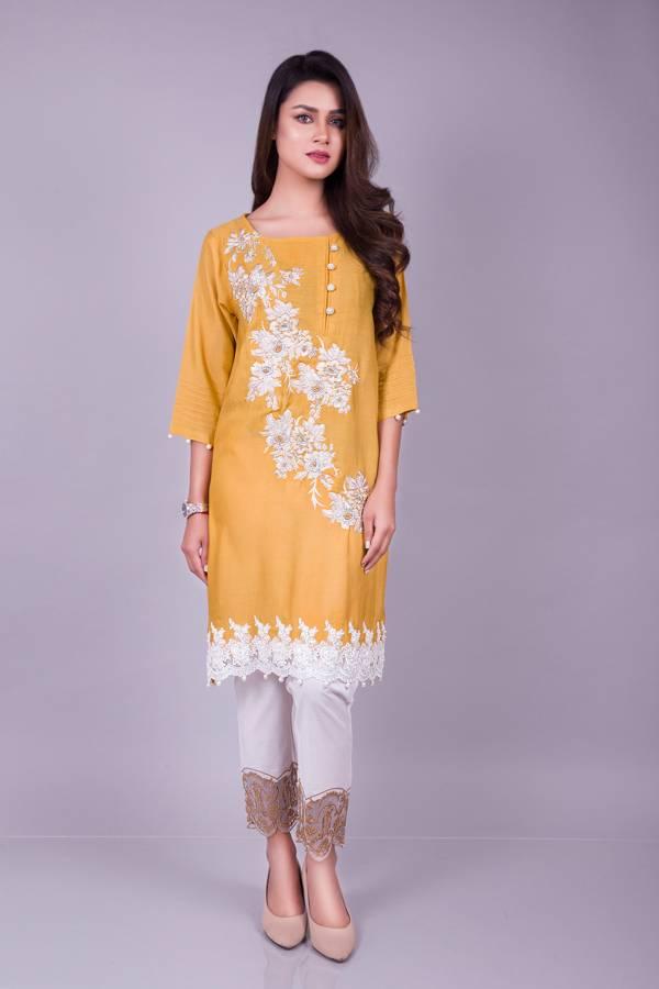 Kross Kulture Embroidered Cotton Net Stitched Kurtis KK 596 Yellow