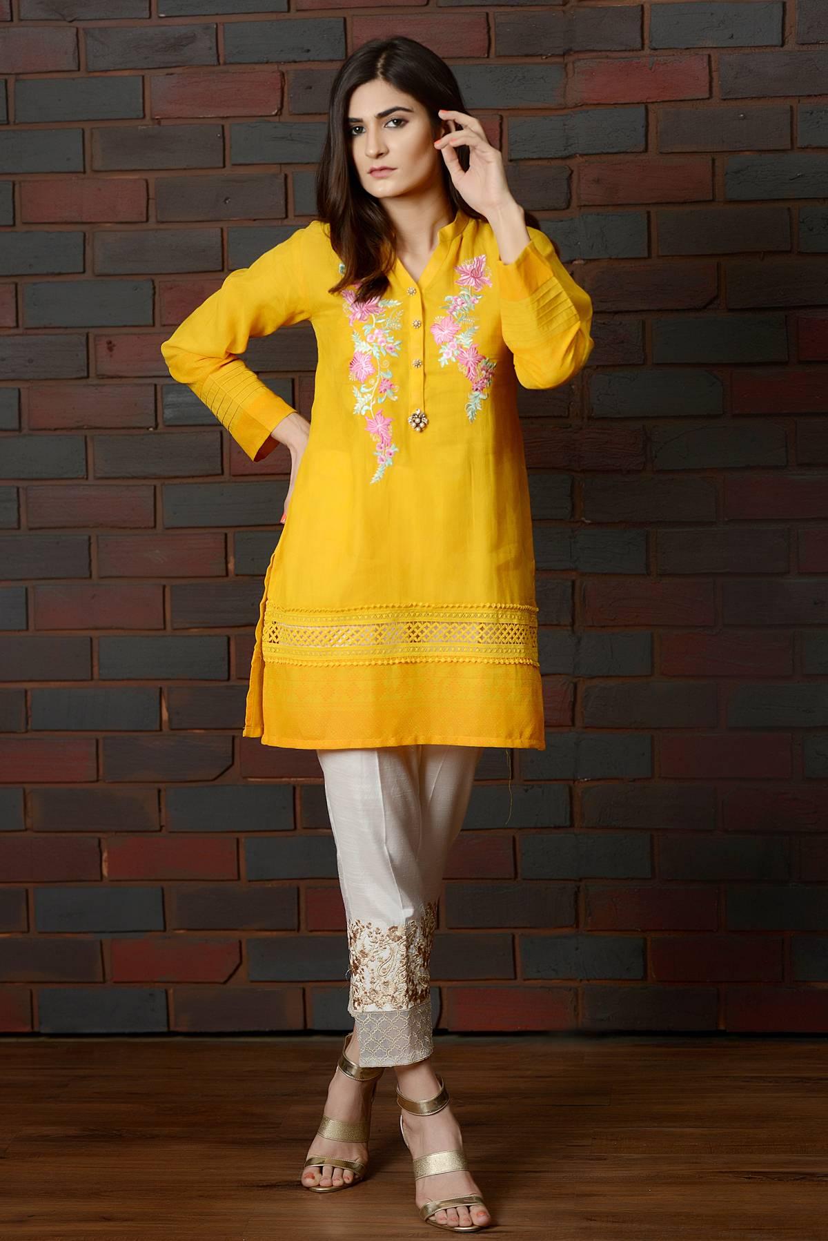 Kross Kulture Embroidered Jacquard Stitched Kurtis KK 692 Yellow