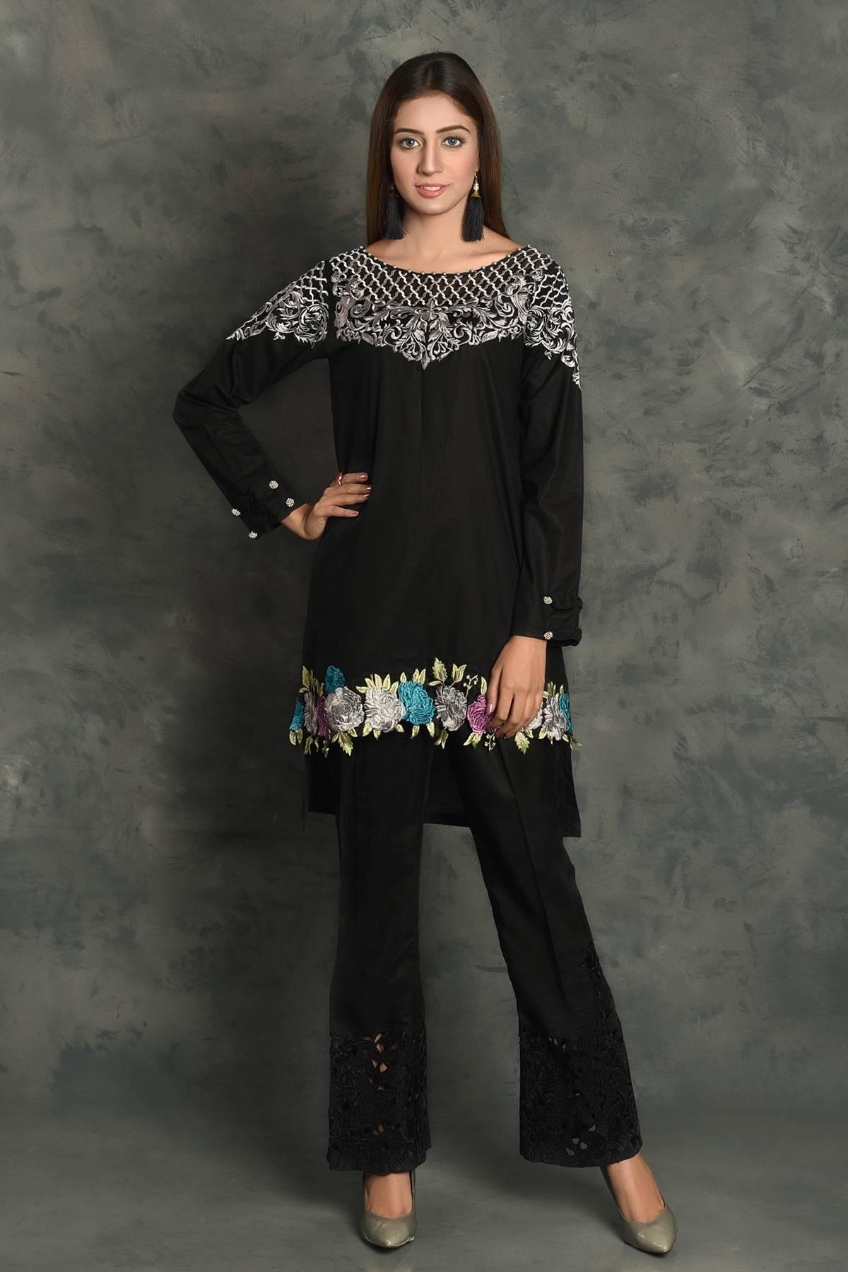 Kross Kulture Embroidered Cotton Stitched Kurtis KK 697 Black
