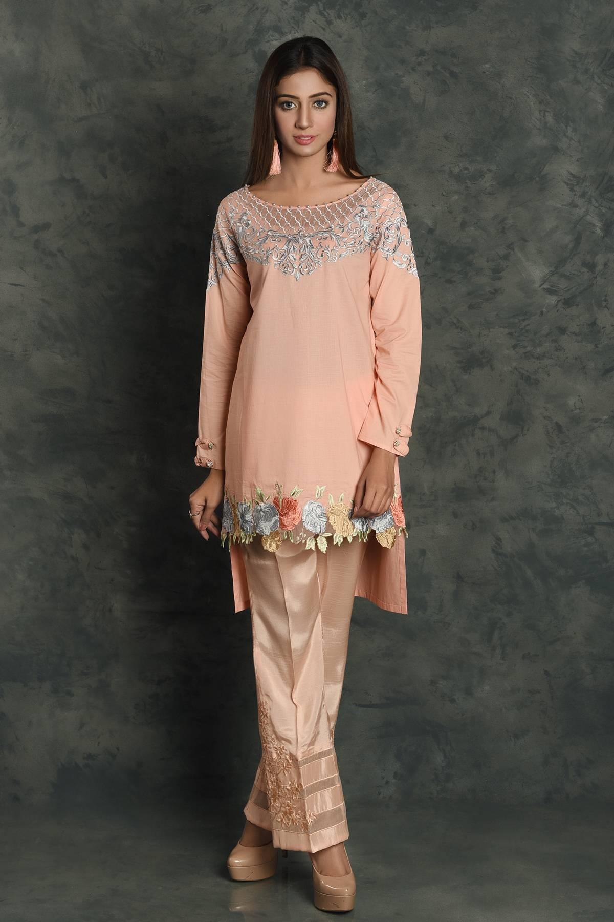 Kross Kulture Embroidered Cotton Stitched Kurtis KK 697 Peach