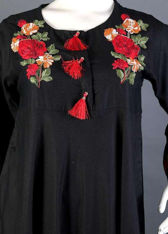 Kross Kulture Embroidered Cotton Stitched Kurtis KK 710 Black
