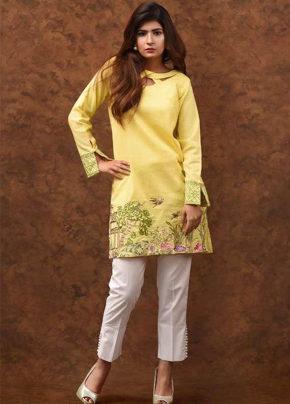 Kross Kulture Embroidered Khaddar Stitched Kurtis KK 723 Yellow