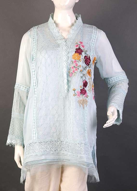 Kross Kulture Embroidered Chiffon Stitched Kurtis KK 731 Aqua