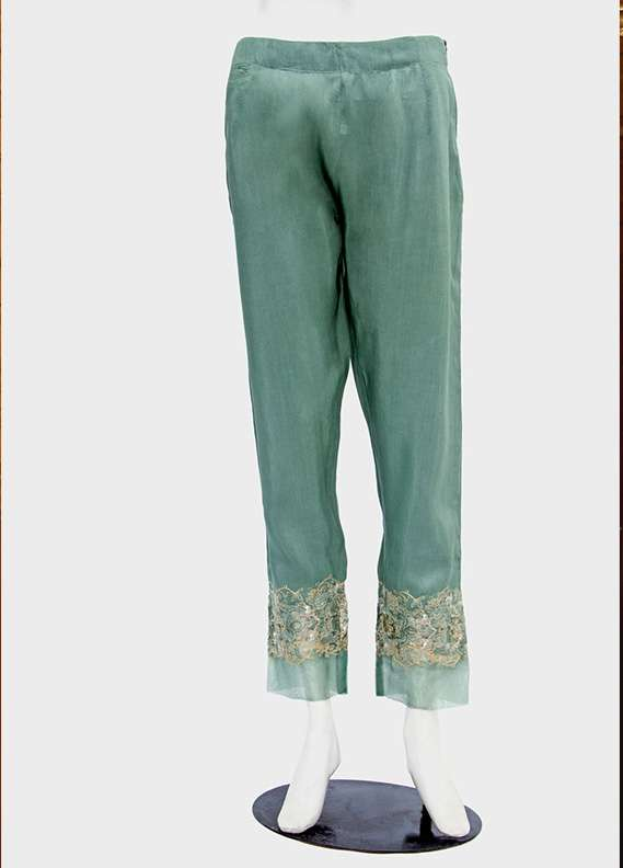 Kross Kulture Embroidered Raw Silk Stitched Trousers KK T244