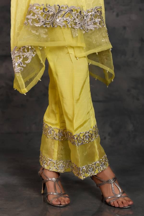 Kross Kulture Embroidered Raw Silk Stitched Trousers KK T652 Yellow