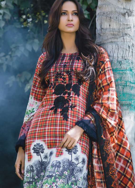 Kalyan By ZS Embroidered Linen Unstitched 3 Piece Suit KL17W2 01