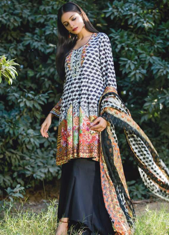 Kalyan By ZS Embroidered Linen Unstitched 3 Piece Suit KL17W2 08