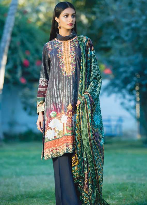 Kalyan By ZS Embroidered Linen Unstitched 3 Piece Suit KL17W2 11