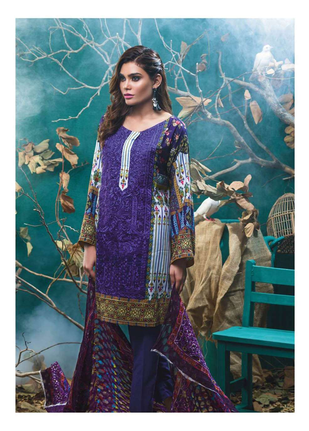 Kalyan By ZS Embroidered Linen Unstitched 3 Piece Suit KL17W 6A