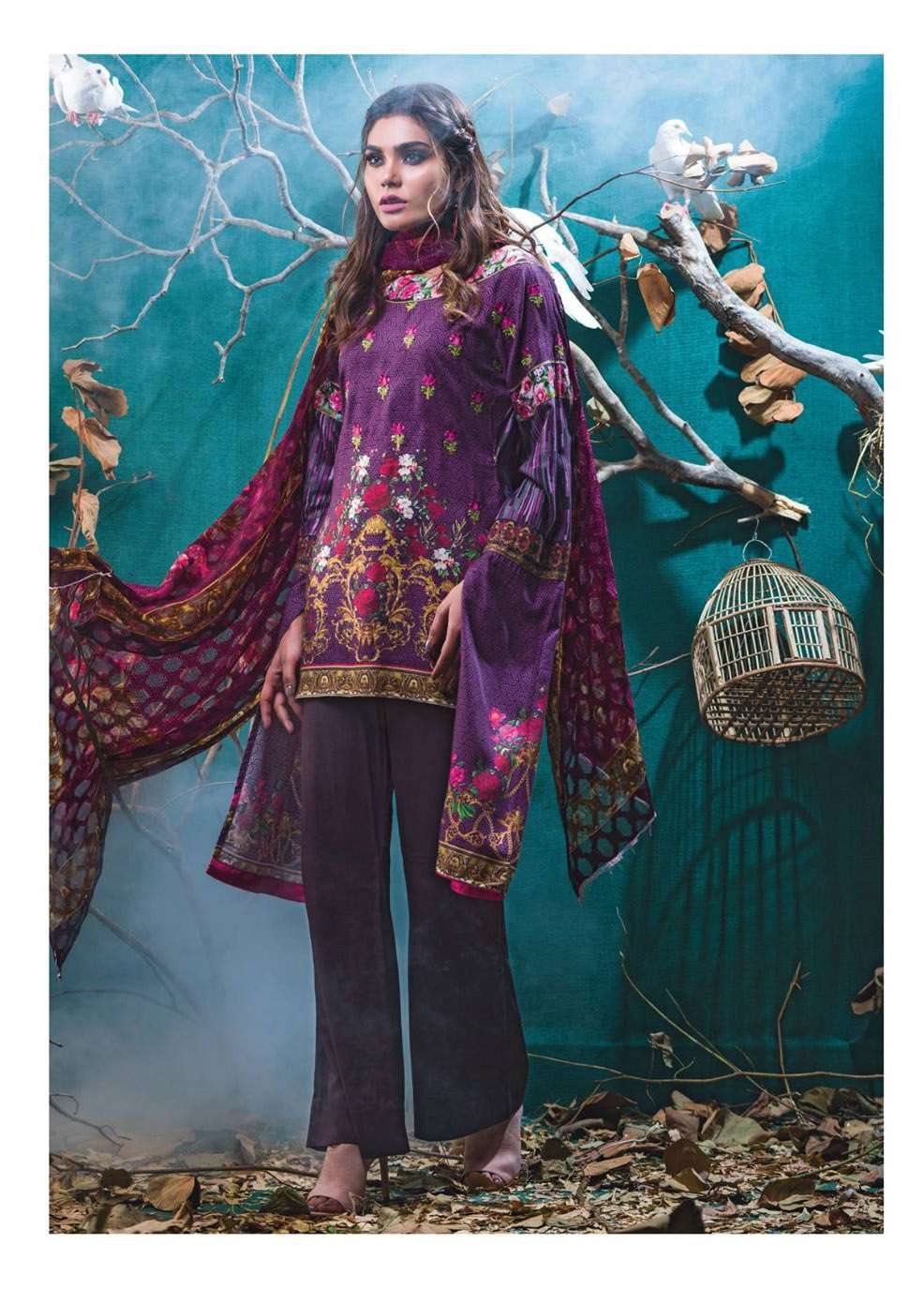 Kalyan By ZS Embroidered Linen Unstitched 3 Piece Suit KL17W 8A