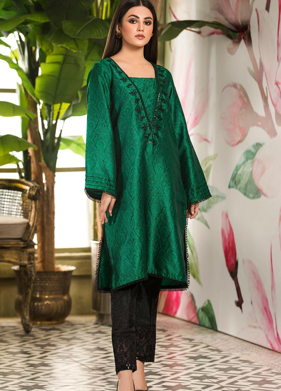 Kross Kulture Embroidered Jamawar Stitched Kurtis KK21C Green KE-20734
