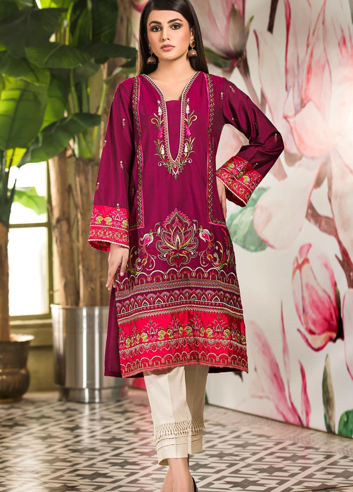 Kross Kulture Embroidered Cotton Silk Stitched Kurtis KK21C KE-20650 Purple