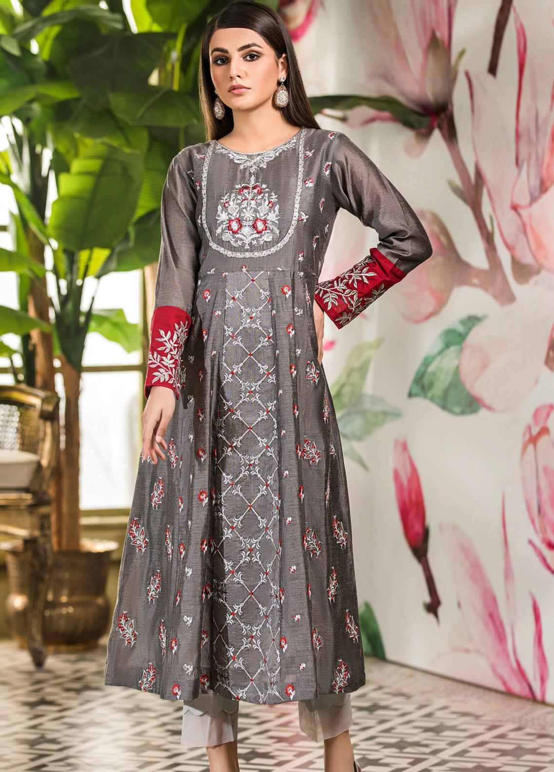 Kross Kulture Embroidered Cotton Net Stitched Kurtis KK21C KX-20698 Grey