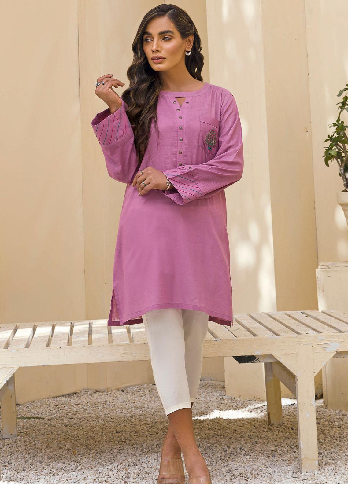 Kross Kulture Casual Pret Embroidered Lawn Shirt KB-21102 Purple