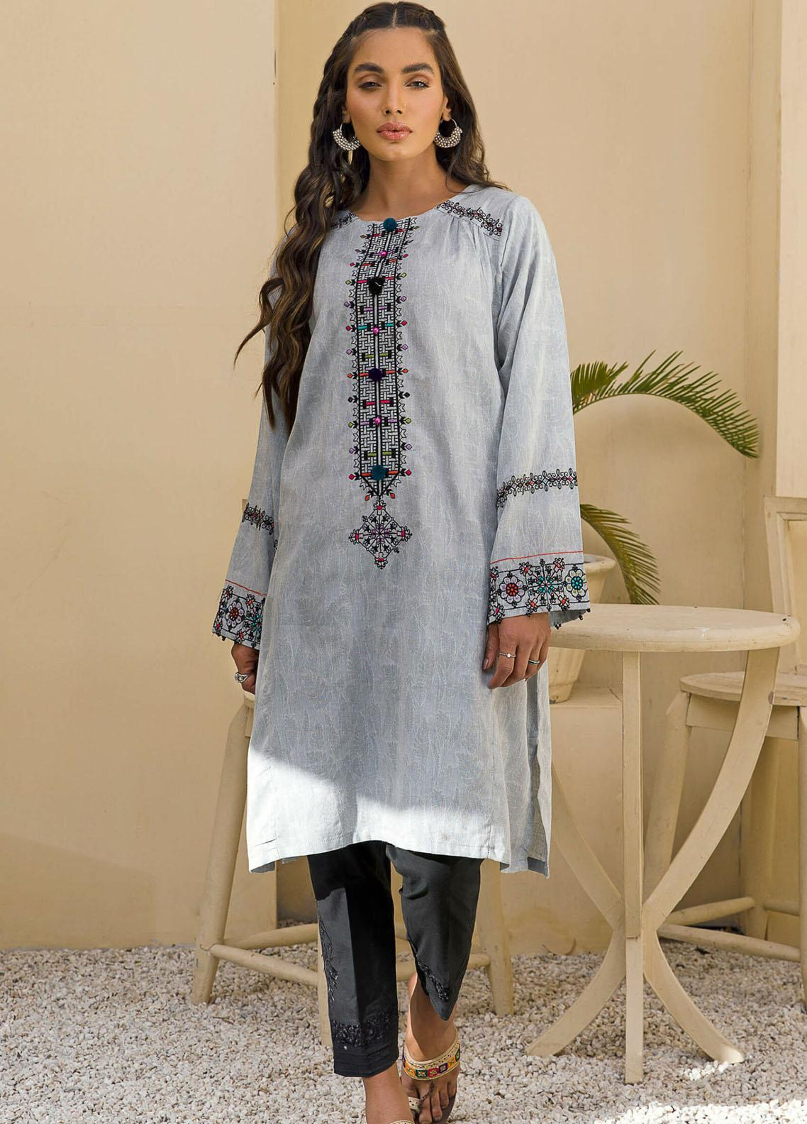 Kross Kulture Casual Pret Embroidered Cotton Shirt KB-21104 Grey