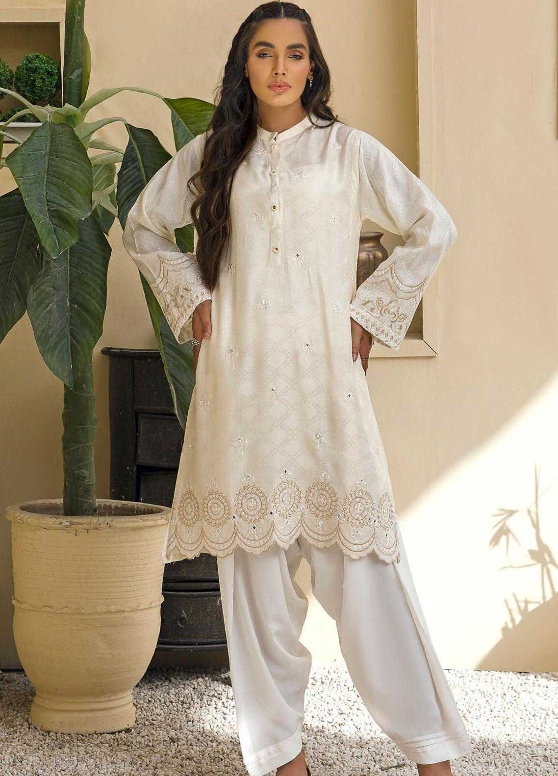 Kross Kulture Casual Pret Embroidered Viscose Shirt KE-21055 White