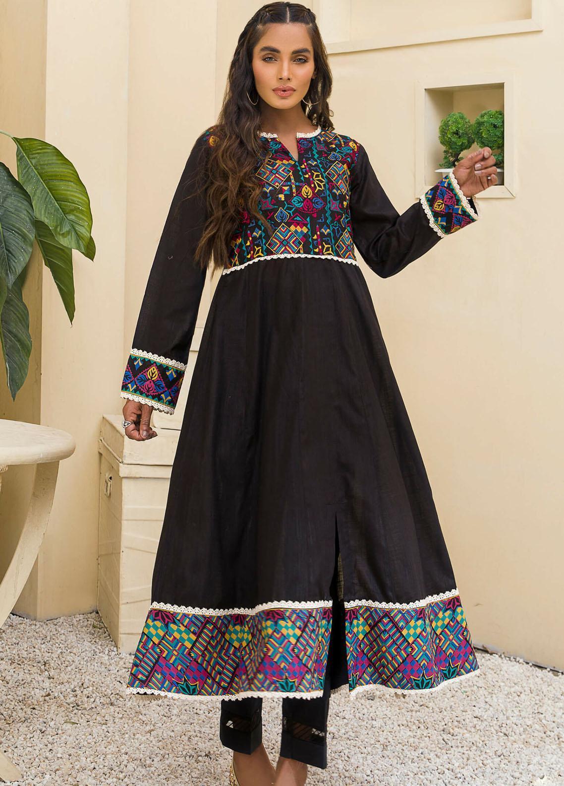 Kross Kulture Casual Pret Embroidered Lawn Shirt KE-21095 Black