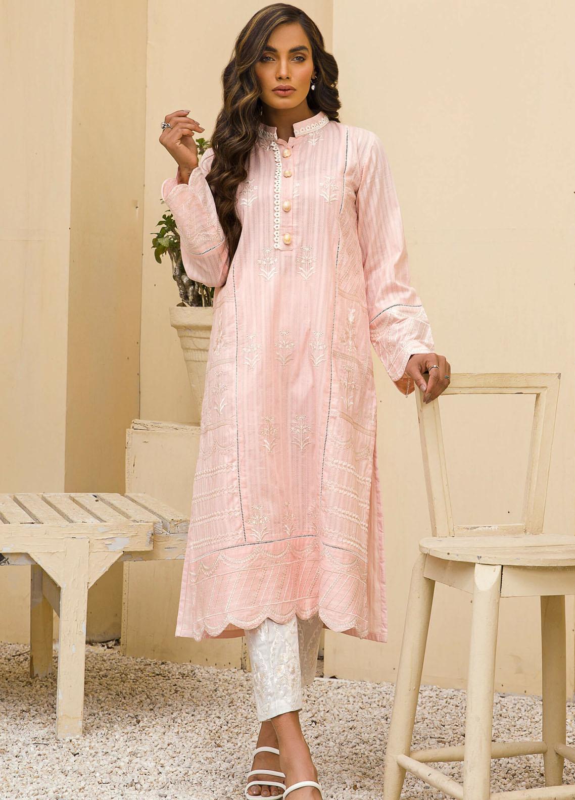 Kross Kulture Casual Pret Embroidered Cotton Shirt KE-21136 Lt Pink