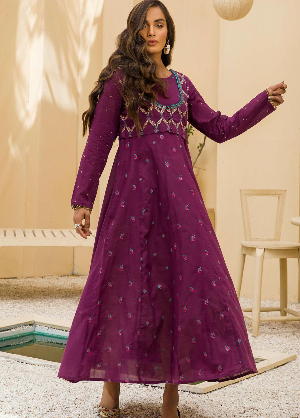 Kross Kulture Casual Pret Embroidered Lawn Shirt KE-21203 Purple