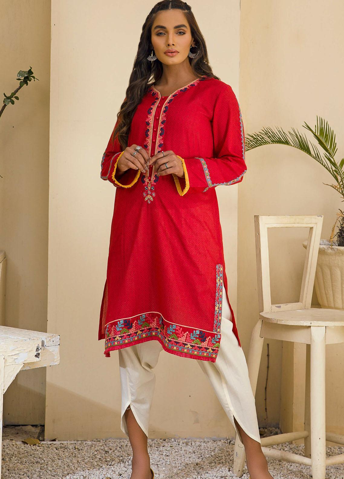 Kross Kulture Casual Pret Embroidered Lawn Shirt KE-21207 Red