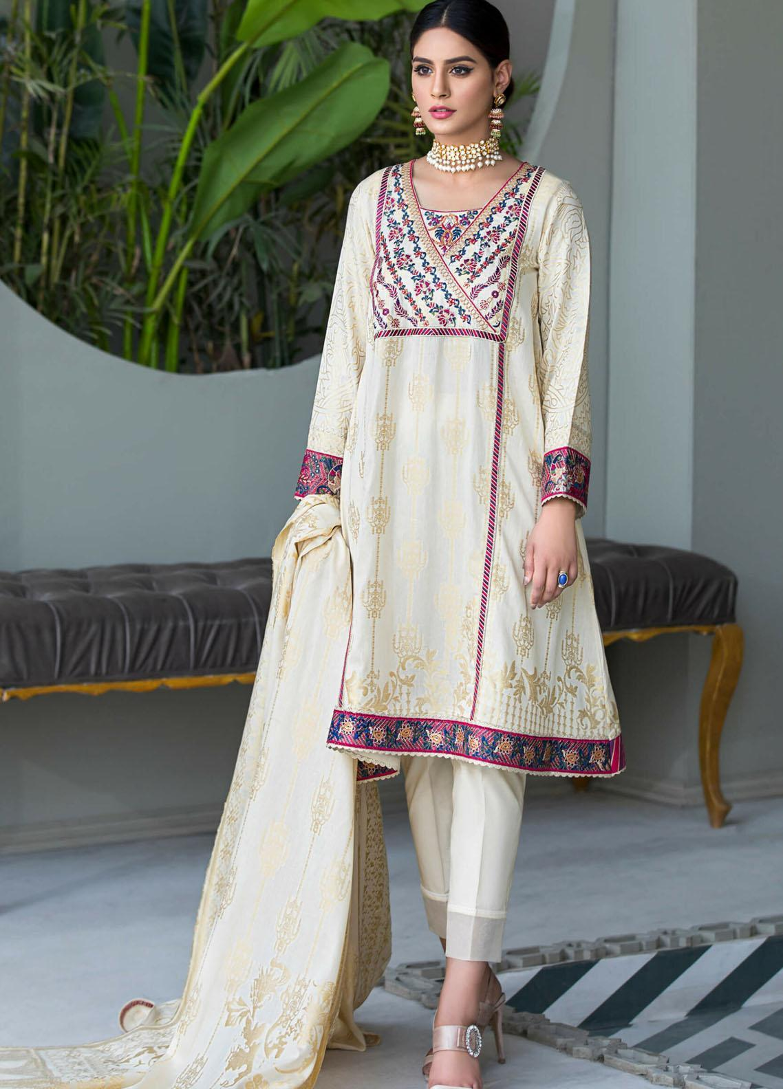 Kross Kulture Embroidered Jacquard Stitched 2 Piece Suit  KE-21160 Off White