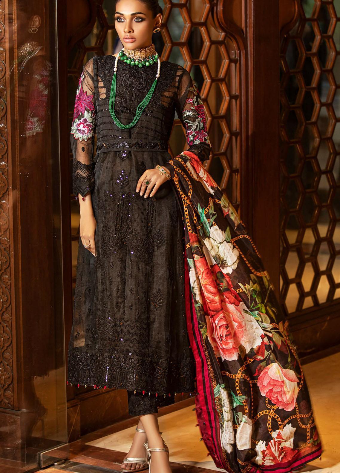 Kross Kulture Embroidered Organza Unstitched 3 Piece Suit KK20UN 1A ONYX - Luxury Collection
