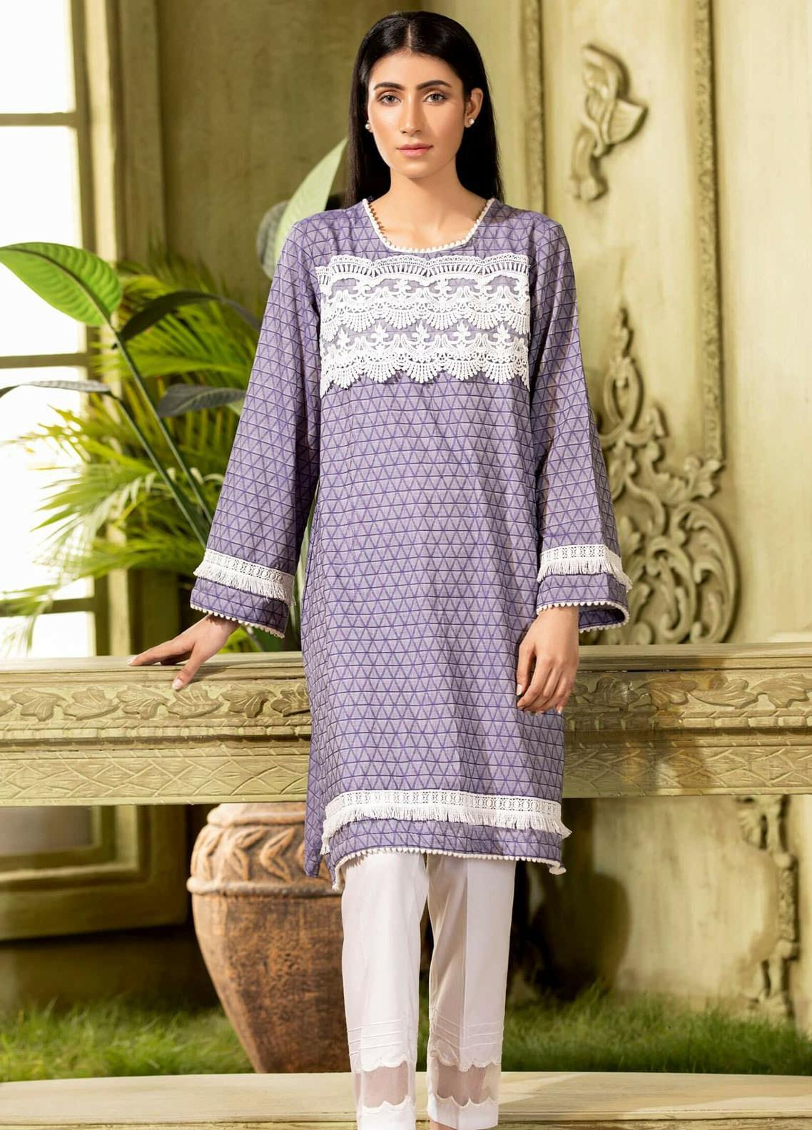 Kross Kulture Embroidered Cotton Stitched Kurtis KB-20577 Sk-Blue