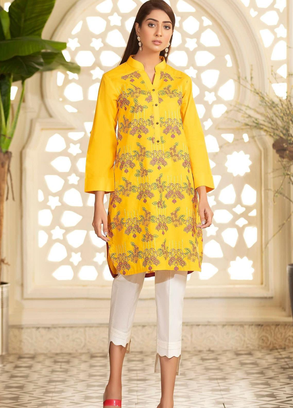 Kross Kulture Embroidered Viscose Stitched Kurtis KE-20409 Yellow