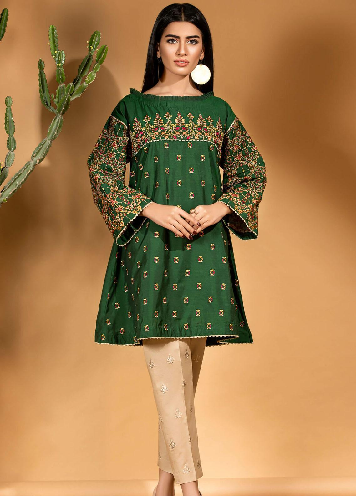 Kross Kulture Embroidered Cotton Silk Stitched Kurtis KE-20716 Green