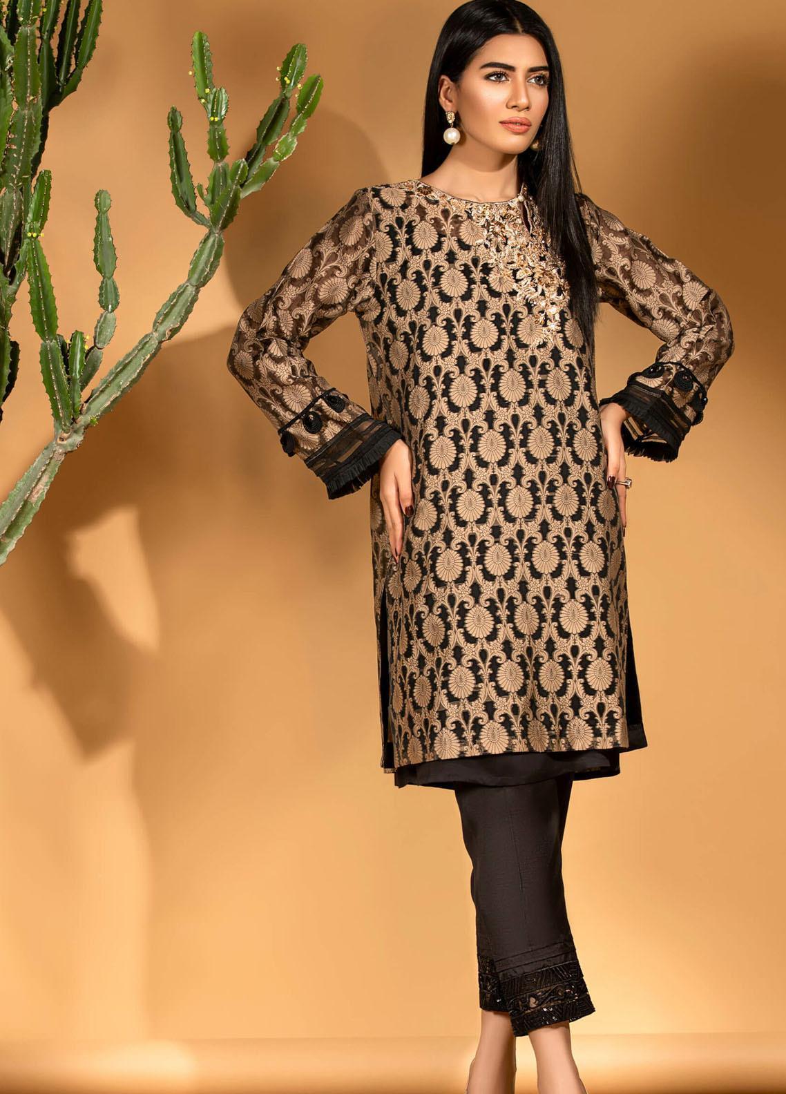 Kross Kulture Embroidered Jamawar Stitched Kurtis KE-20725 Skin-Black