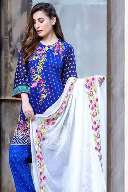 Kalyan By ZS Embroidered Lawn Unstitched 3 Piece Suit KY17E2 9B