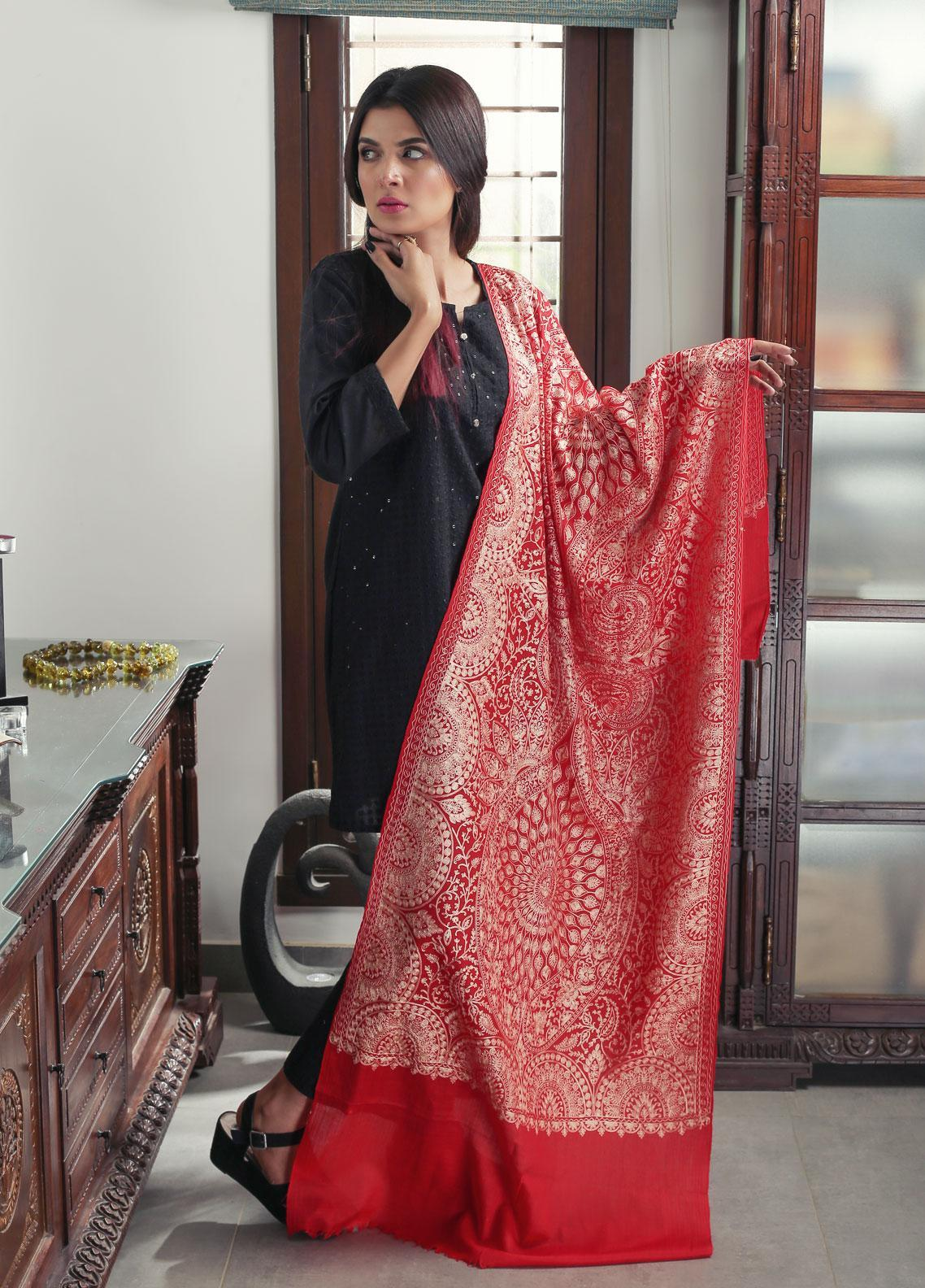 Sanaulla Exclusive Range Embroidered Pashmina  Stole 19-AKP-254 Red