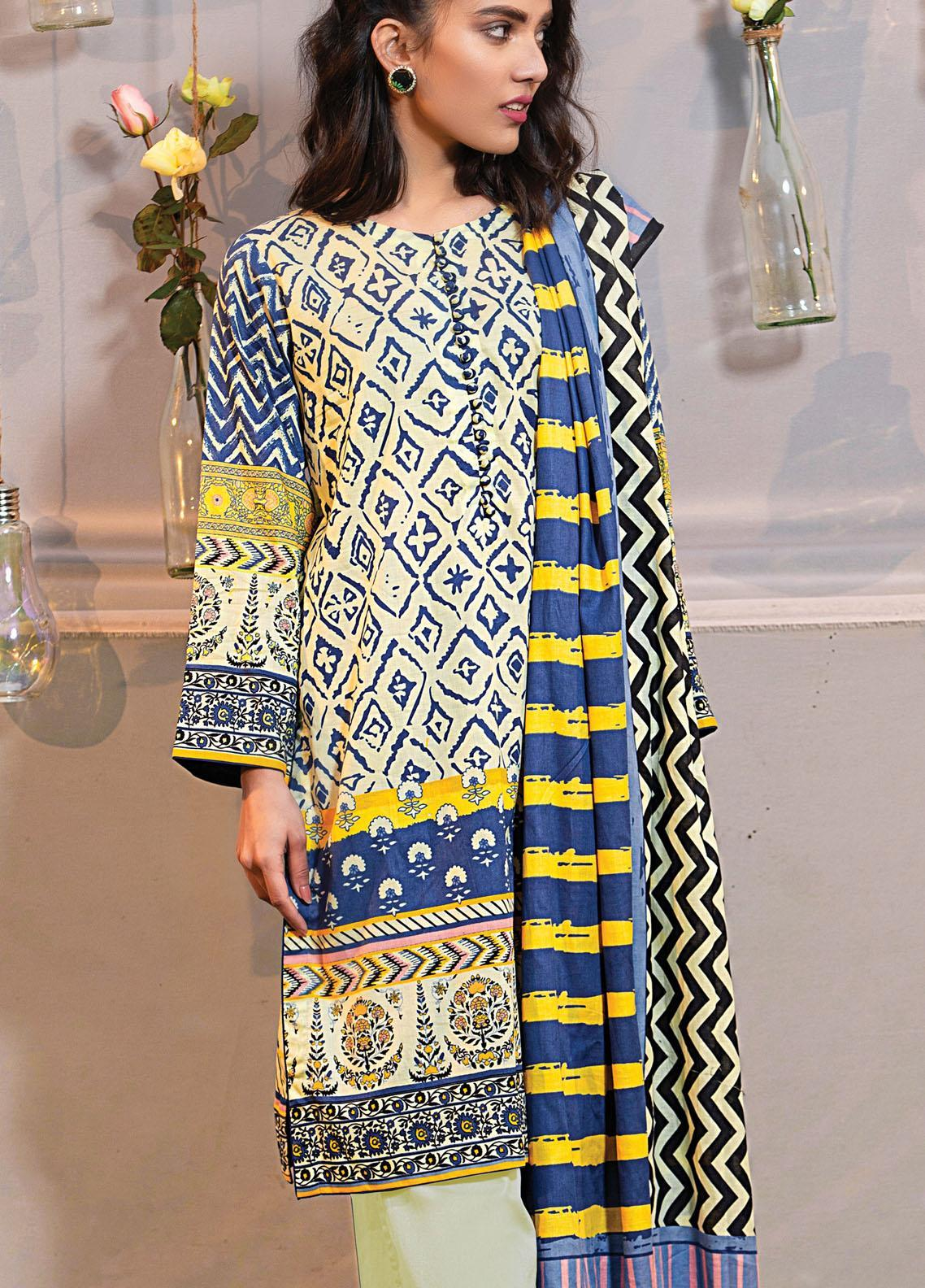 Komal By Lakhany Printed Lawn Unstitched 3 Piece Suit LSM21K 2005B - Summer Collection
