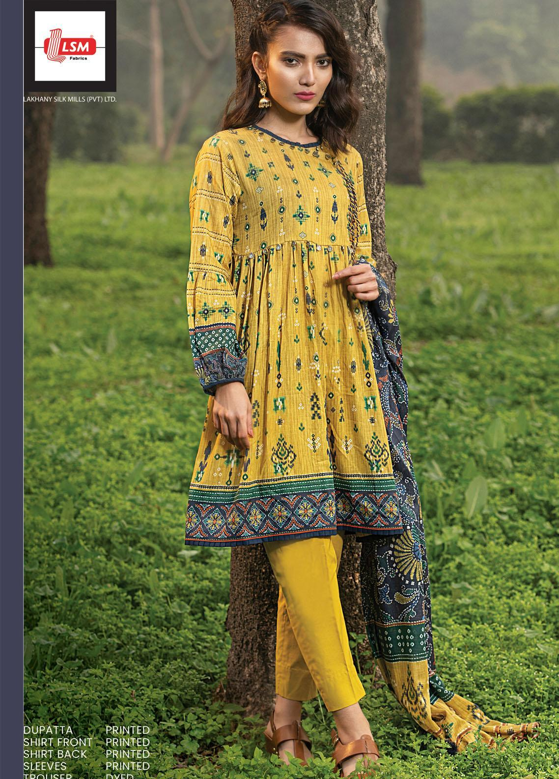 Komal By Lakhany Printed Lawn Unstitched 3 Piece Suit LSM21K 2006B - Summer Collection