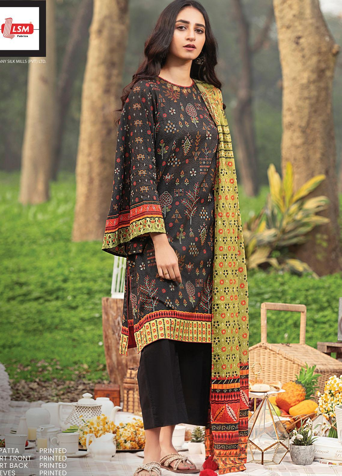 Komal By Lakhany Printed Lawn Unstitched 3 Piece Suit LSM21K 2011B - Summer Collection