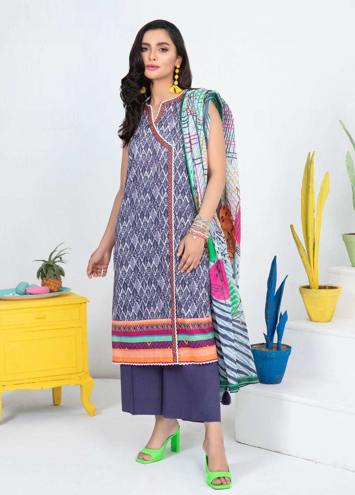 Lakhany Printed Lawn Suits Unstitched 3 Piece LSM21KP KPL-2024-A - Summer Collection