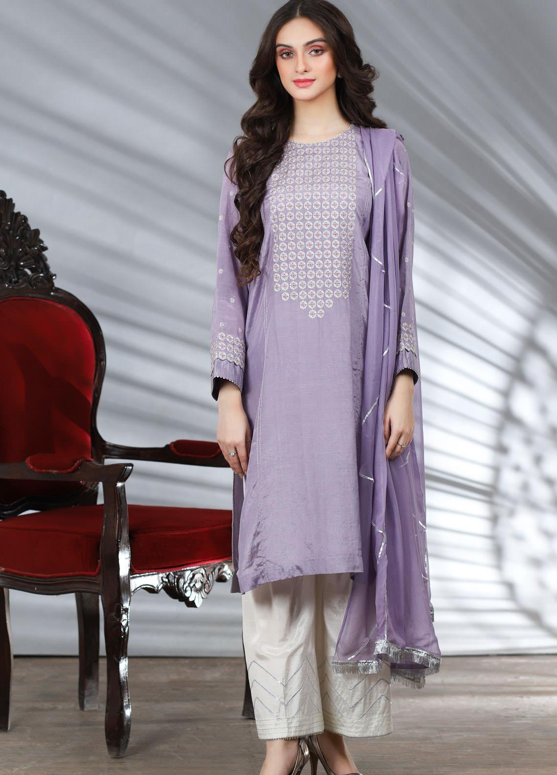 Lakhany Embroidered Raw Silk Stitched 3 Piece Suit LSM20PL LSM-1961