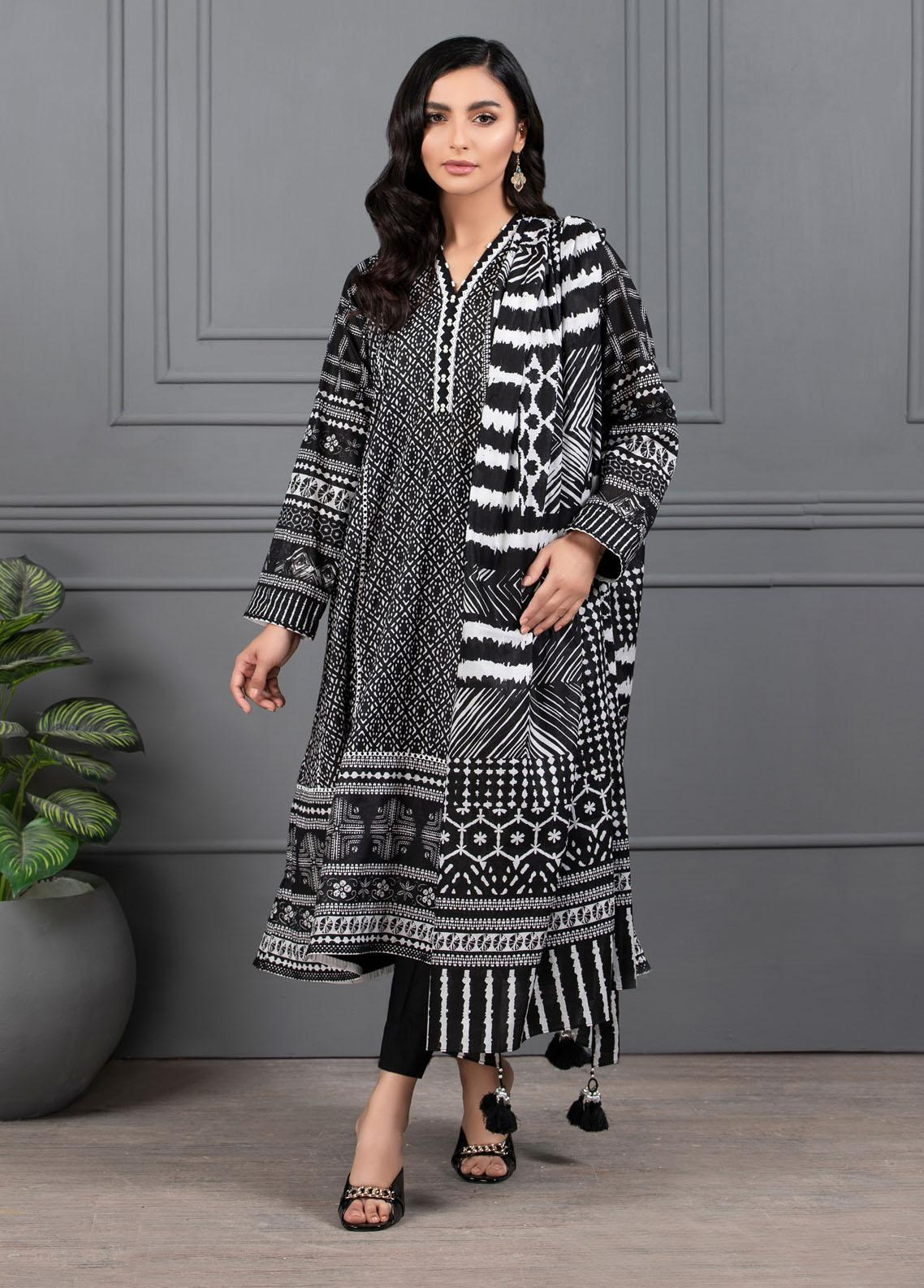 Monochrome By Lakhany Printed Lawn Suits Unstitched 3 Piece LSM21M 7015 - Summer Collection