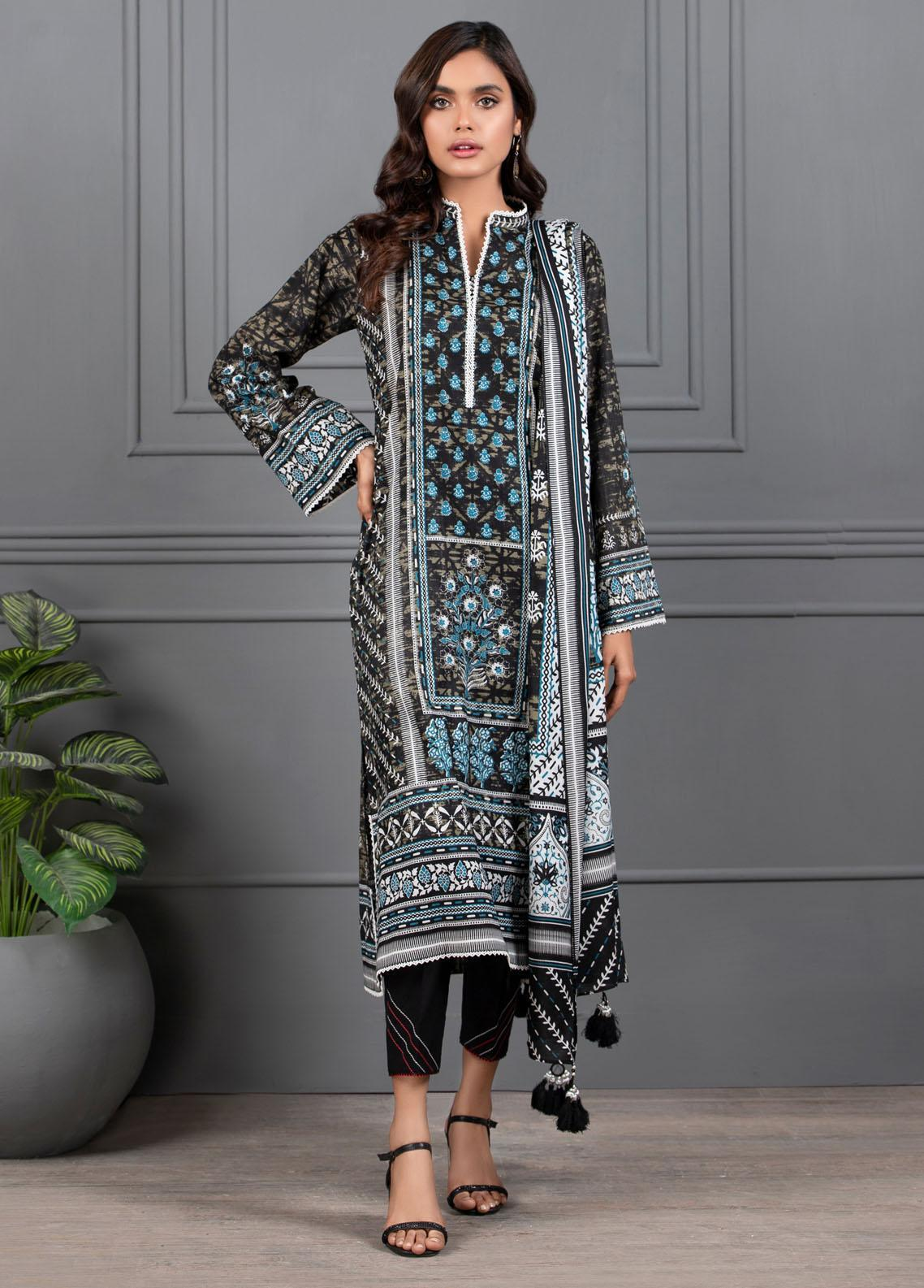 Monochrome By Lakhany Printed Lawn Suits Unstitched 3 Piece LSM21M 7016 - Summer Collection