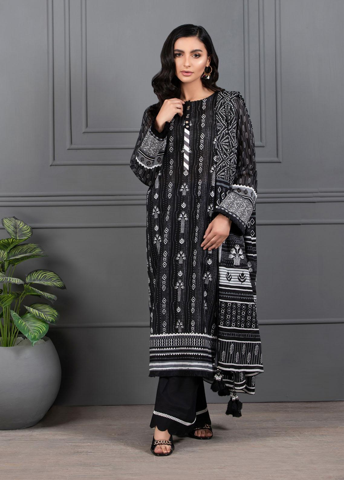 Monochrome By Lakhany Printed Lawn Suits Unstitched 3 Piece LSM21M 7017 - Summer Collection