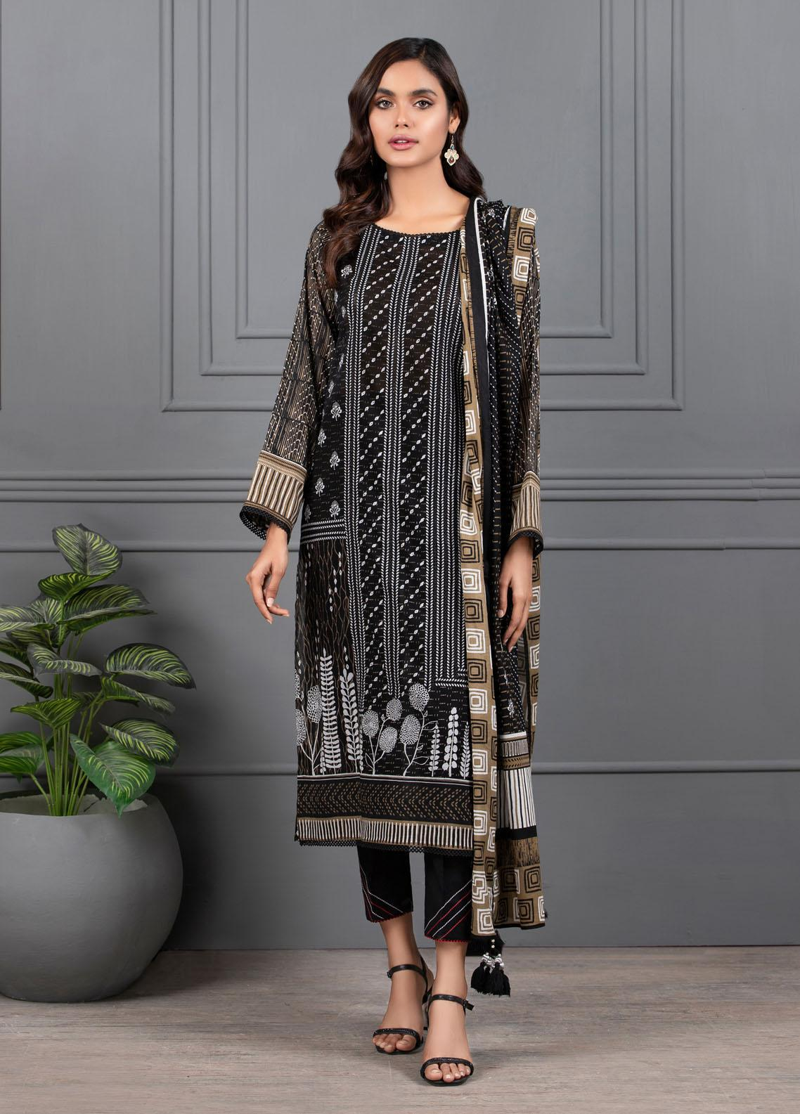 Monochrome By Lakhany Printed Lawn Suits Unstitched 3 Piece LSM21M 7018 - Summer Collection