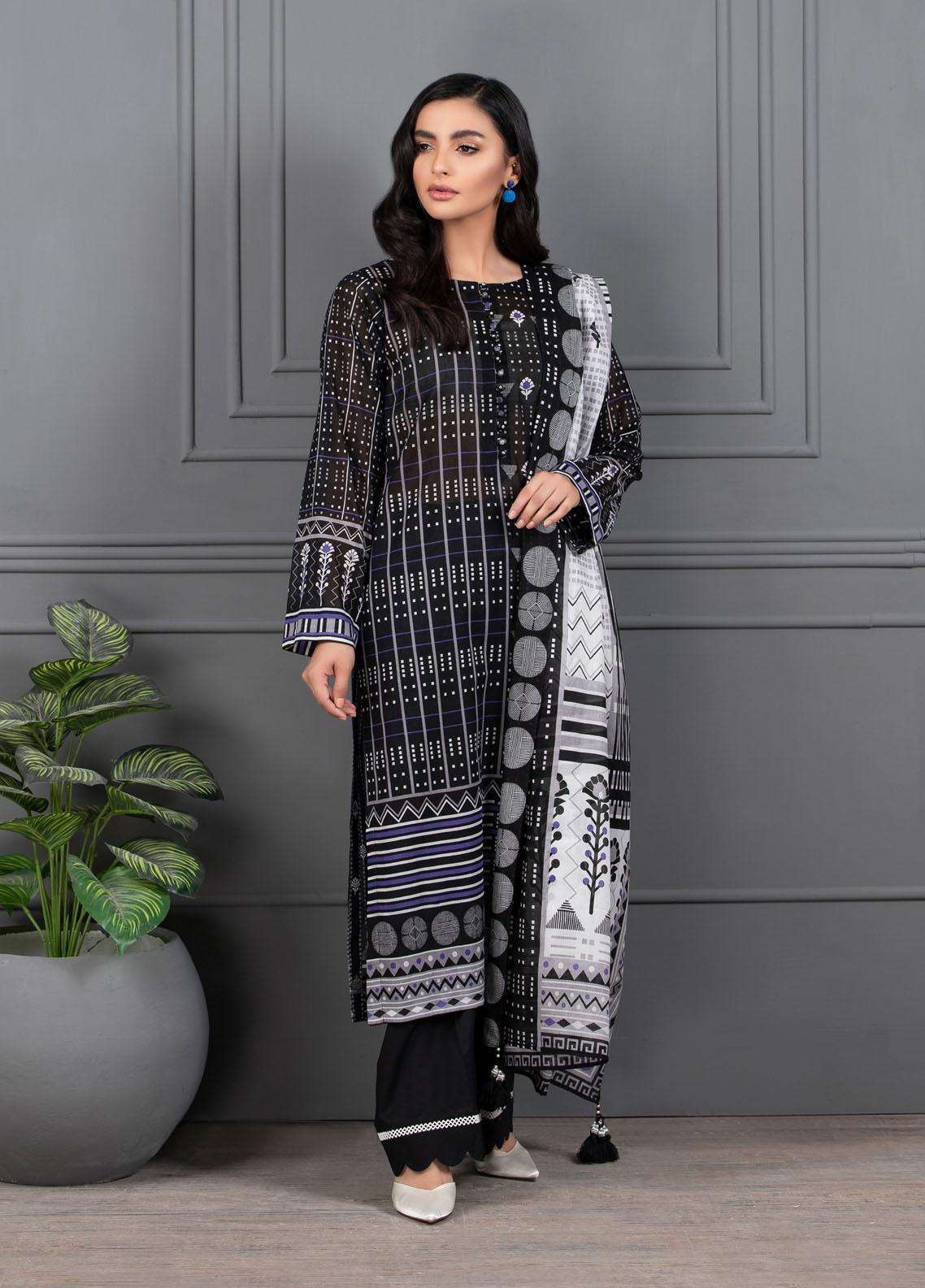 Monochrome By Lakhany Printed Lawn Suits Unstitched 3 Piece LSM21M 7019 - Summer Collection