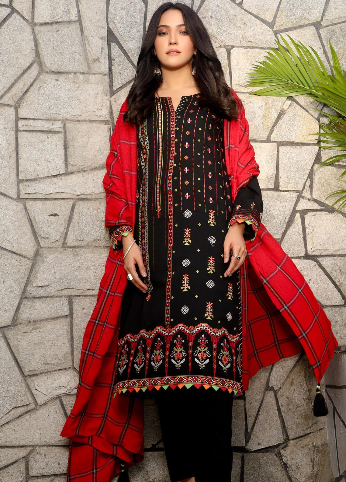 Lakhany Embroidered Peach Unstitched 3 Piece Suit LSM20WE 2044 - Winter Collection