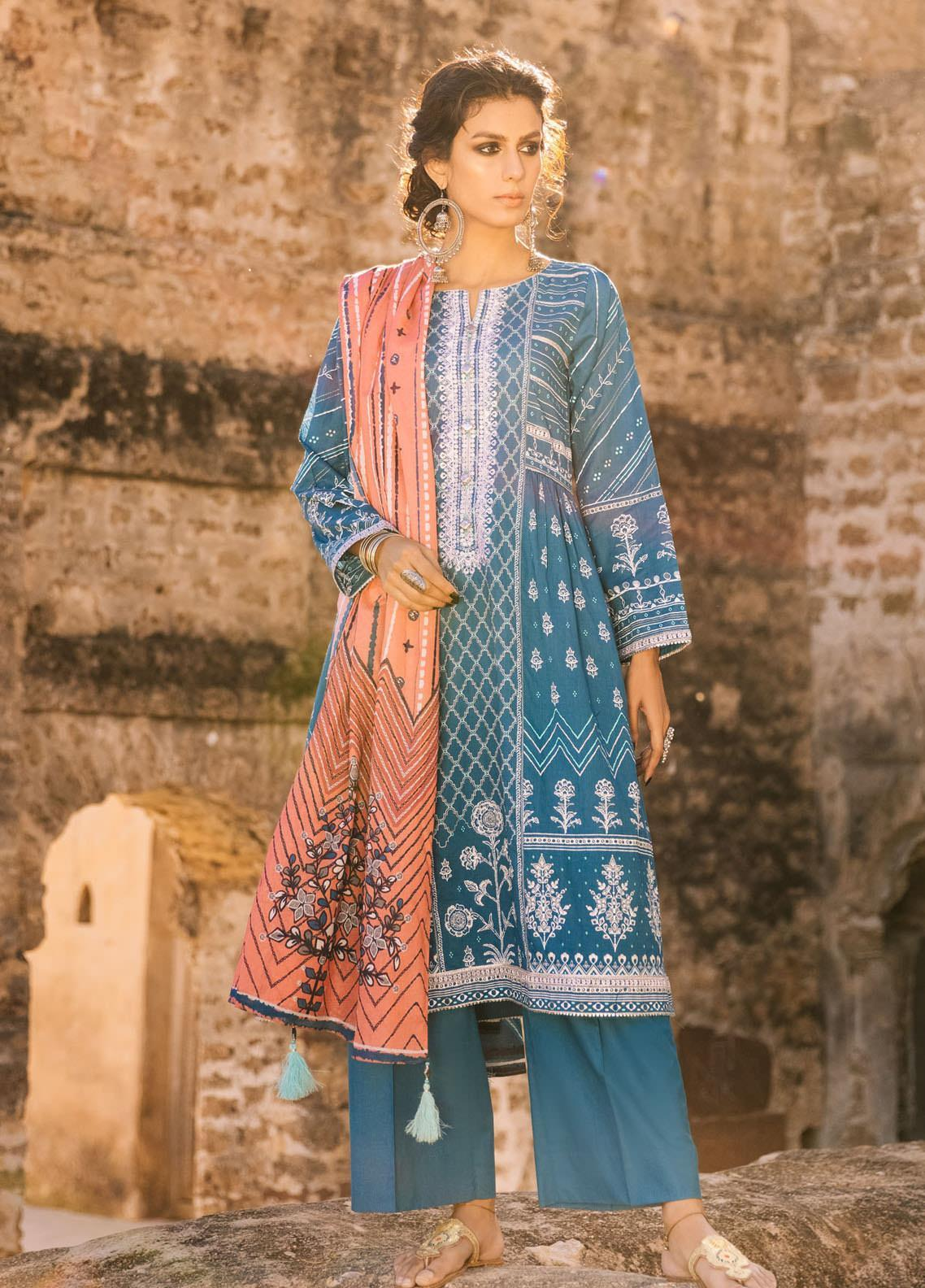 Lakhany Embroidered Lawn Suits Unstitched 3 Piece LSM21S BP-2041 - Summer Collection