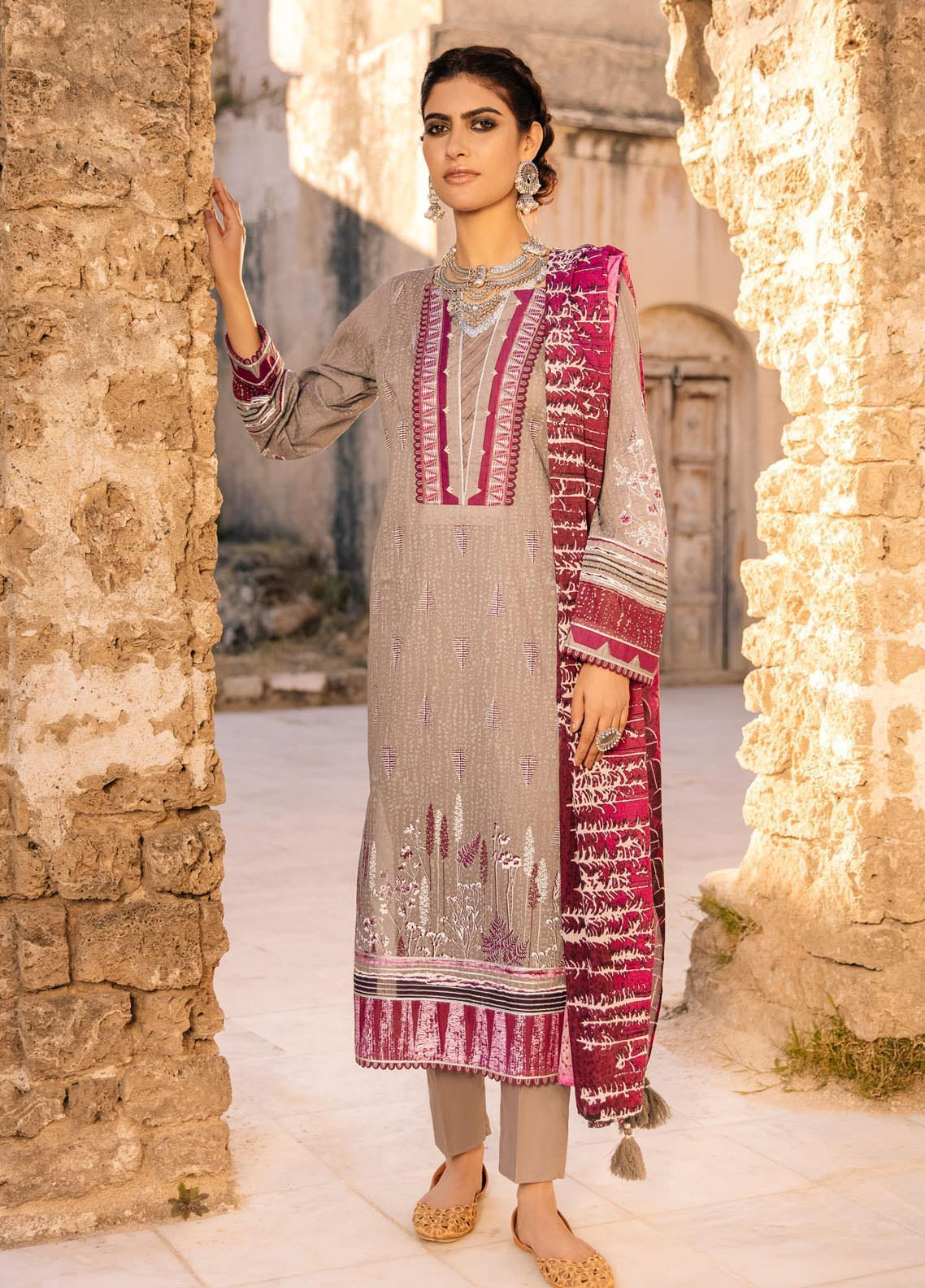 Lakhany Embroidered Lawn Suits Unstitched 3 Piece LSM21S BP-2044 - Summer Collection